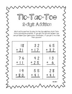 2-digit Addition & Subtraction Tic-Tac-Toe  - Great for centers! This packet even includes problems with OR without regrouping! $