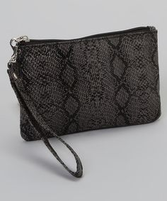 Take a look at this Gray & Black Snake Wristlet by Capelli New York on #zulily today!