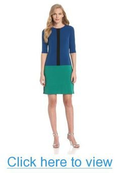 Donna Morgan Women's Jewel Neck Drop Waist Color Block Dress #Donna #Morgan #Womens #Jewel #Neck #Drop #Waist #Color #Block #Dress
