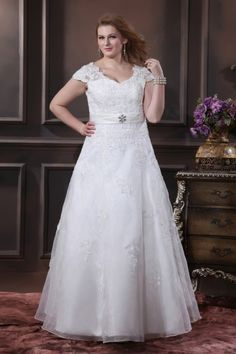 Elegantes A Linie Cup Armel Applikation bodenlanges Brautkleid