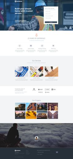 Constructions landing page template with page builder
