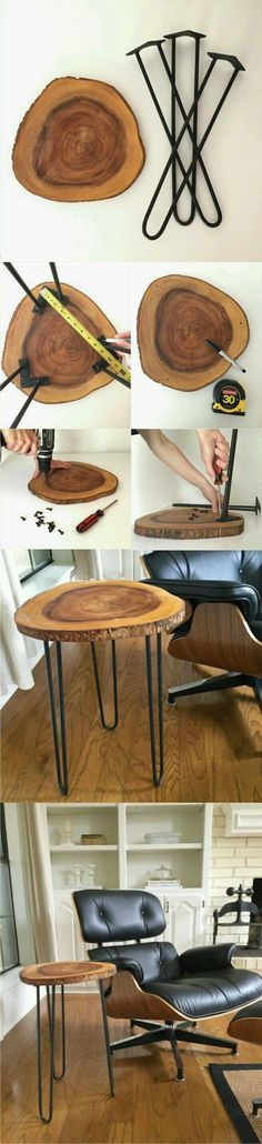 diy chair wooden disc and metal legs, armchair The post ▷ 1001 original and cool crafting ideas for inspiration appeared first on Woman Casual - DIY and crafts