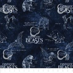 Childrens - Page 9 - The Vintage Sweetheart ® Harry Potter 9, Harry Potter School, Harry Potter Fabric, Glastonbury Somerset, Navy Logo, Fantastic Beasts, Cotton Fabric, Creatures, Film