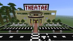 movie theaters in minecraft Minecraft Modern City, Minecraft Shops, Minecraft Mansion, Minecraft Castle, Minecraft Games, Minecraft Architecture, Minecraft Crafts, Minecraft Buildings, Minecraft Interior Design