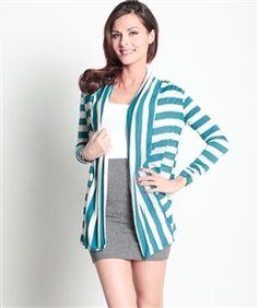 Mint Striped Flyaway Cardigan! - 5dollarfashions.com