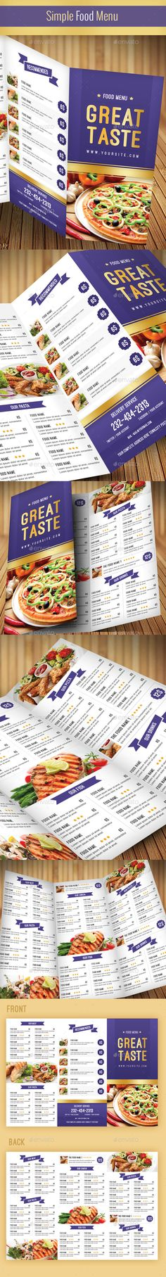 Restaurant and Food Menu Trifold Brochure Food menu, Brochures - food brochure