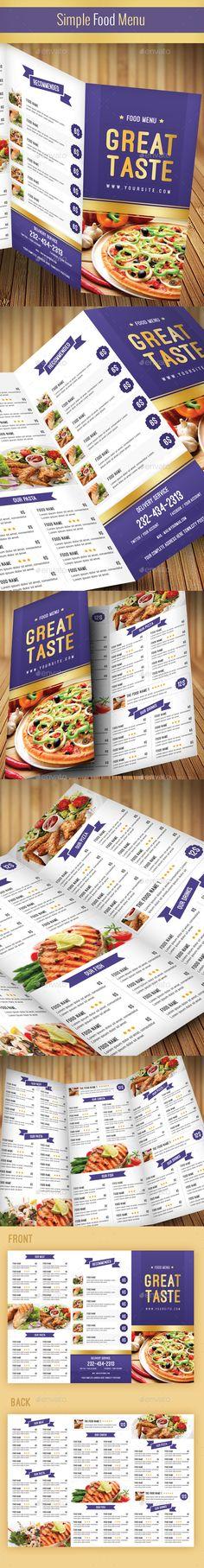 Simple Food Menu Template #design Download: http://graphicriver.net/item/simple-food-menu/10049870?ref=ksioks