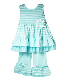 Another great find on #zulily! Dress Up Dreams Boutique Aqua Ruffle Tank & Pants - Infant, Toddler & Girls by Dress Up Dreams Boutique #zulilyfinds