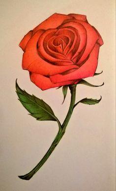 Derrick o artista: Como desenhar uma rosa com os lápis coloridos
