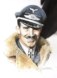 Perhaps the most famous of Germany's WW2 fighter aces,  Operating over Britain from the Pas de Calais, by the end of the year he had reached 58 victories.  In November 1941, after his 94th victory he was promoted to General der Jagdflieger - overall commander of the Luftwaffe's fighter arm.