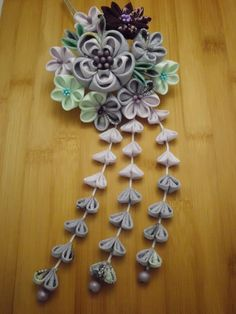 LAVENDER and blue mint bouquet Tsumami KANZASHI by JagataraArt, $58.00