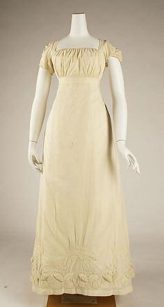 Dress (image 1) | probably French | 1810 | cotton | Metropolitan Museum of  Art | Accession Number: C.I.63.39