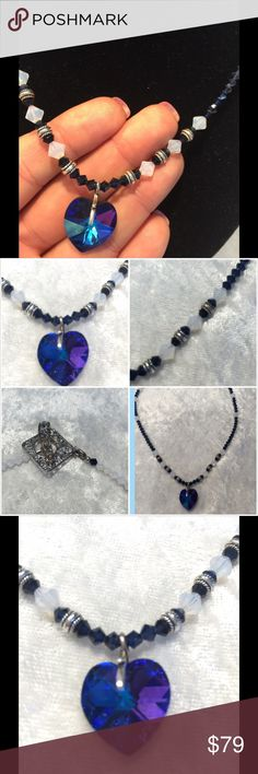 Gorgeous Safire Swarovski Crystal necklace Swarovski Crystal beautiful heart necklace in Safire and opal crystals with silver closure and silver beads. Made by local designer by hand. Original $149.00 Jewelry Necklaces