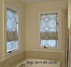 No Sew Faux Roman Shades Shower Curtain Repurpose, Bathroom Ideas, Home  Decor, Repurposing