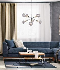 Messina 8-arm takpendel - Sort/messing Kristiansund, Messina, Sorting, Love Seat, Globe, Couch, Table, Furniture, Design
