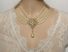 LIMITED Beautiful Bridal choker features four strands of small cream Ivory pearls with a golden flower filigree set with Ivory pearls and a Swarovski drop pearl is dangle below.Between the lines Pearl Chocker Necklace, Bride Necklace, Collar Necklace, Vintage Wedding Jewelry, Bridal Jewelry, Baby Jewelry, Ideas Joyería, Walmart Jewelry, Bridesmaid Jewelry Sets