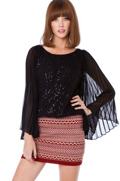 Donia Blouse / ShopSosie #blouse #sequin #pleated #chiffon #shopsosie