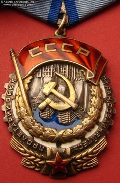 "Collect Russia Order of the Red Banner of Labor, Type 3, Var 2, ""jumbo"" (aka ""long oval""), #68295, circa 1948. Soviet Russian"