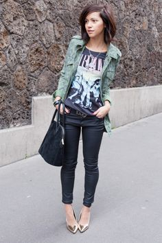 Coated skinnies, patterned jacket, graphic tee and metallic  heels