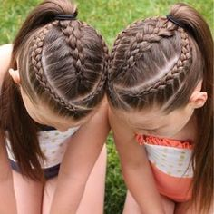 Two dutch braids framing a 4 strand round braid (left), and a 5 strand dutch (right). Princess Hairstyles, Little Girl Hairstyles, Teenage Hairstyles, Short Hairstyles, Kids Braided Hairstyles, Braided Ponytail, Swimming Hairstyles, Girl Hair Dos, Crimped Hair