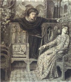 Dante Gabriel Rossetti - Hamlet and Ophelia, 1858