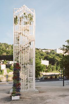 as part of the lyon architecture biennale, laisné roussel has constructed the 'flower pavilion' – an inhabitable installation inspired by greenhouses.