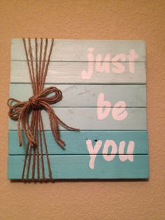 Pallet Sign...I would use burlap and lace instead of string