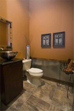 Half Bath - Corrugated tin on bottom of walls..LOVE IT!