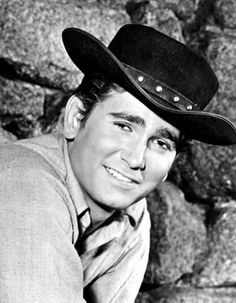 "Michael Landon, ""Little Joe"" on Bonanza - Previous pinner says: When I was a kid he was at a rodeo in Hudson, WI. He rode a horse around the arena, I got to shake his hand! Michael Landon, The Lone Ranger, Tv Westerns, Old Tv Shows, Raining Men, Classic Tv, My Guy, Famous Faces, Old Hollywood"