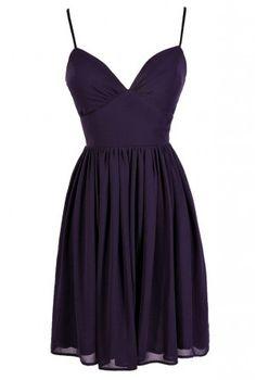 Cute Purple Dress, Royal Purple Dress, Purple Chiffon Dress,