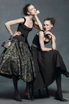 """british-vogue: """"Karlie Kloss and Karmen Pedaru - wearing Louis Vuitton - photographed by Daniel Jackson for the August 2010 issue. See the Marc Jacobs for Louis Vuitton Vogue album """" Daniel Jackson, Vogue Uk, Vogue Editorial, Editorial Fashion, Fashion Poses, Vogue Fashion, Fashion Shoot, Fashion News, Simple Elegant Dresses"""