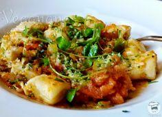 Nhoque de Batatas com Molho de Tomates e Agrião   Veganana