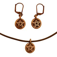 DragonWeave Pentagram Circle Charm Necklace and Earring Set, Antique Copper Brown Leather Choker and Leverback Earrings