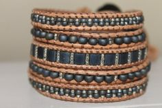 Leather beaded Wrap bracelet, Glass beads, Miyuki Blue Brown leather - -very pretty with the same colored beads in different bead styles