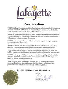 LAFAYETTE, OR - Mayoral proclamation recognizing Diaper Need Awareness Week (Sep. 26-Oct. 2, 2016) #DiaperNeed Diaperneed.org