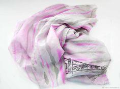 """Шелковый шарф батик """"Annete"""", шелк, атласный шифон,недорого – купить в интернет-магазине на Ярмарке Мастеров с доставкой - DO09PRU"""