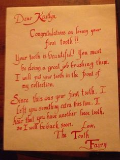 A letter from the Tooth Fairy after losing a first tooth