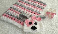 Doll Baby blanket 19 x19 Crochet pink and white arcylic yarn Girl  homemade