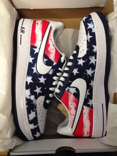 4th of July/World Cup #USMNT Air Force 1's