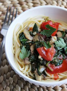 There's no need to drench pasta in heavy cream, butter, and cheese to create a satisfying supper, and this vegan-friendly spaghetti recipe is proof. Fresh produce keeps this saucy recipe low in calories but rich in vitamins A and C.   Calories: 228