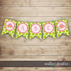 Owl Pink & Lime Green Polka Dots Banner / Create Your Own by OandD