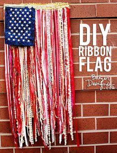 from the Balzer Designs Blog: DIY Ribbon Flag Tutorial