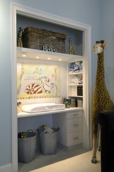 Converting a closet into a changing station ~ B&A Interiors