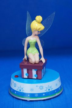 Tinker Bell Musical Motion Twirling Plastic Christmas Figurine Disney Peter Pan #Figurines