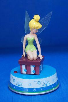 Tinker Bell Musical Motion Twirling Plastic Christmas Figurine Disney Peter Pan #Figurines