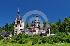 Image of painted, bush, palace, construction - 37556736 Peles Castle, Carpathian Mountains, Romania, Renaissance, Palace, Medieval, Construction, Stock Photos, Mansions