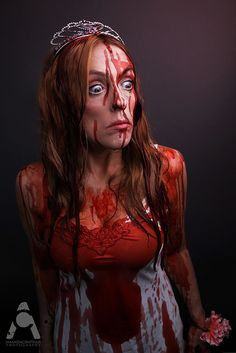 31 Days Of Halloween makeup  Carrie by Amanda Chapman www.facebook.com/amandachapmanphotography #HalloweenMakeup #Halloween #makeup #HalloweenIdeas #HalloweenCostume #costumes #carriecostume #carriebloodscene #31daysofhalloween