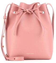 Mini Pink Leather Bucket Bag By Mansur Gavriel