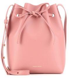 Mini Pink Leather Bucket Bag By Mansur Gavriel