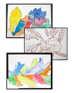 Art with Autumn Leaves - Science-integrated art lessons. Observation drawing and watercolor wax resist.